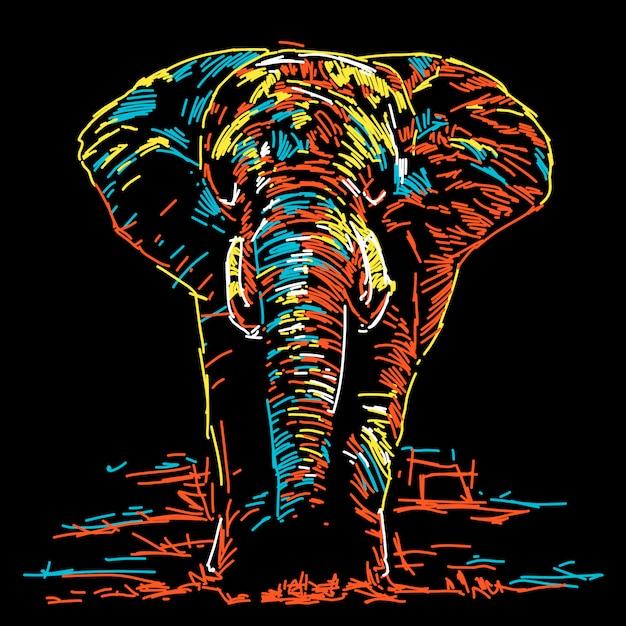 Elefante colorido abstracto ilustración Vector Premium