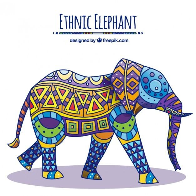 Elefante decorado nativo vector gratuito