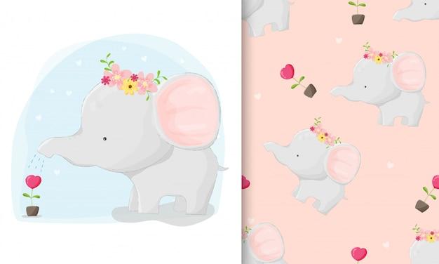Elefante dibujado a mano lindo plantar amor con conjunto de patrones sin fisuras Vector Premium