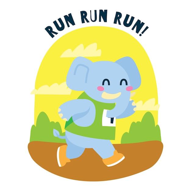 Elefante de dibujos animados lindo corriendo un maratón en la jungla Vector Premium