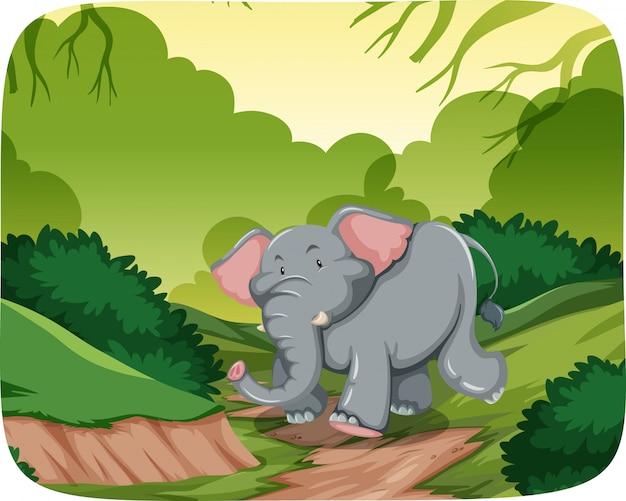 Elefante feliz en la escena de la selva vector gratuito