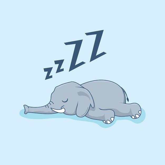 Elefante perezoso dibujos animados animales dormir Vector Premium