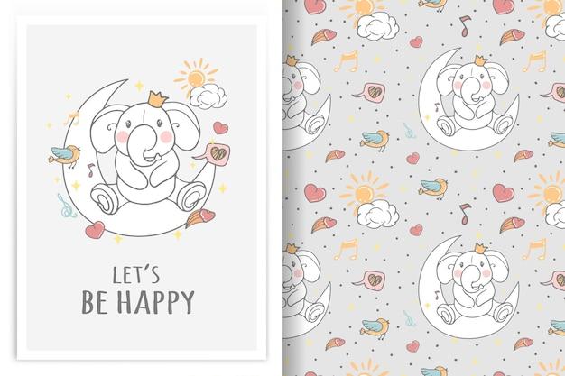 Elefante sentado en la luna ilustración y patrón transparente vector gratuito