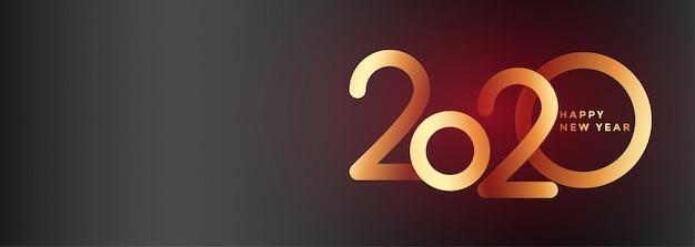 Elegante 2020 año nuevo hermoso banner vector gratuito