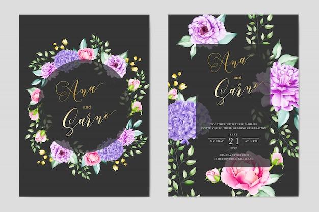Elegante acuarela floral y hojas tarjeta de boda termplate Vector Premium