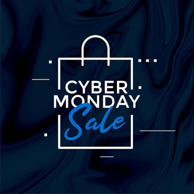 Elegante banner de diseño de bolsa de compras de venta de lunes cibernético vector gratuito