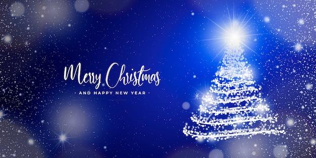 Elegante banner navideño con luces borrosas vector gratuito
