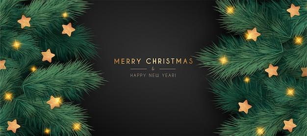 Elegante banner navideño con ramas realistas vector gratuito