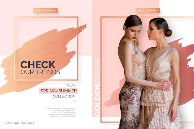 Elegante banner de venta con colores dorados y rosas vector gratuito