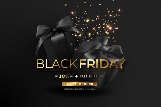 Elegante banner de viernes negro con regalos y confeti. vector gratuito