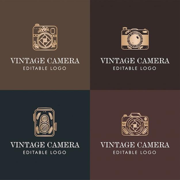 Elegante cámara minimalista logo monograma dorado premade Vector Premium
