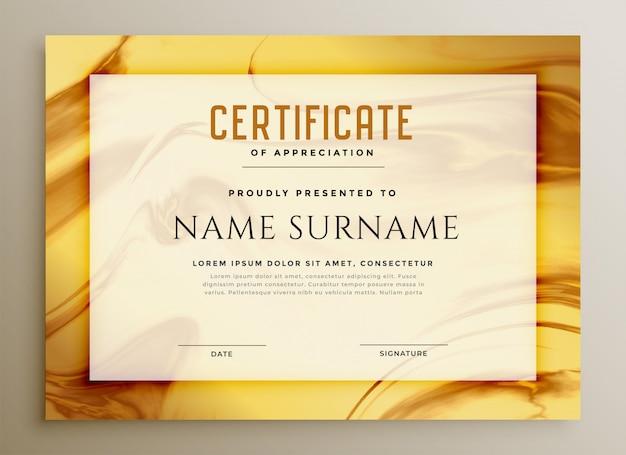 Elegante certificado de textura de mármol dorado. vector gratuito
