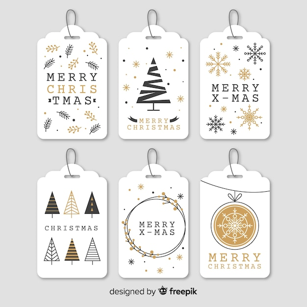 Elegante colección de etiquetas de navidad en forma de árbol Vector Premium