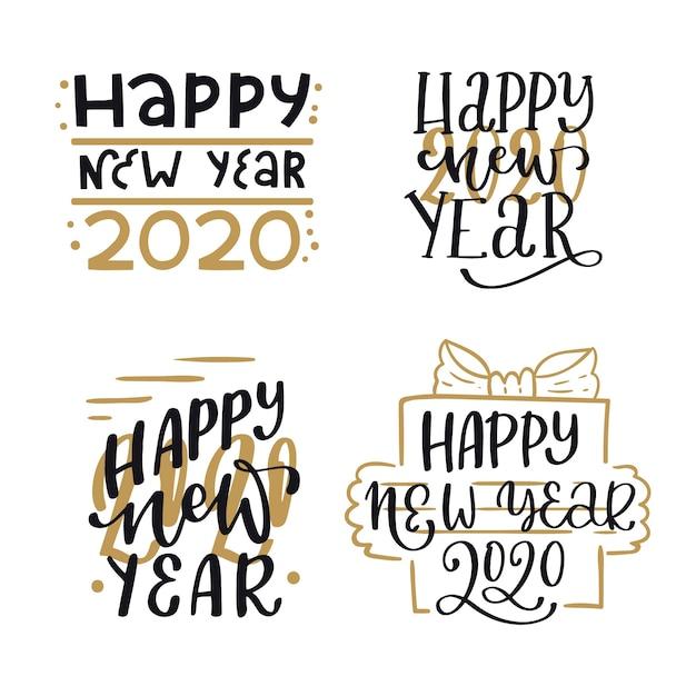 Elegante colección de letras de año nuevo 2020 vector gratuito