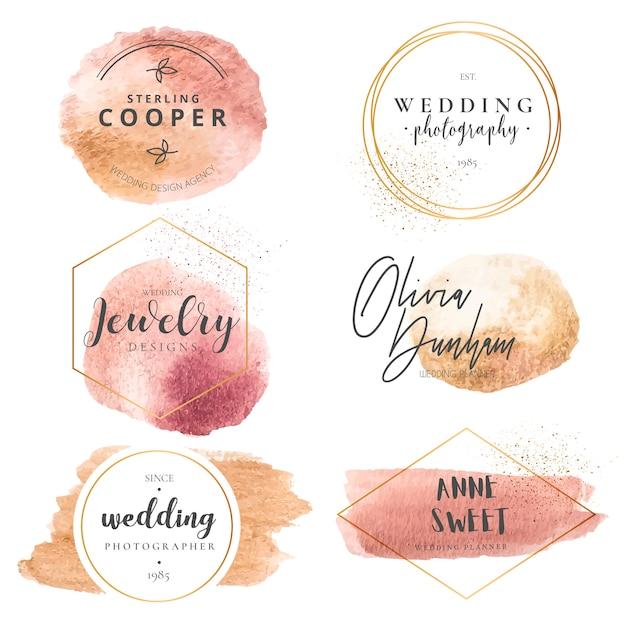 Elegante colección de logotipos para planificadores de bodas y fotógrafos vector gratuito