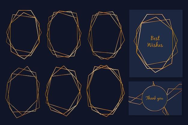 Elegante colección de marcos poligonales dorados vector gratuito