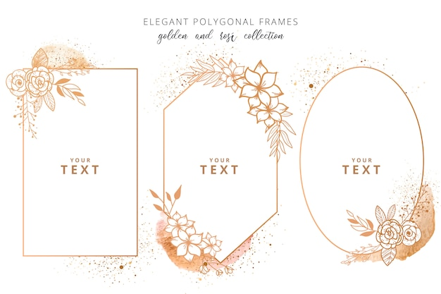 Elegante colección de marcos poligonales vector gratuito