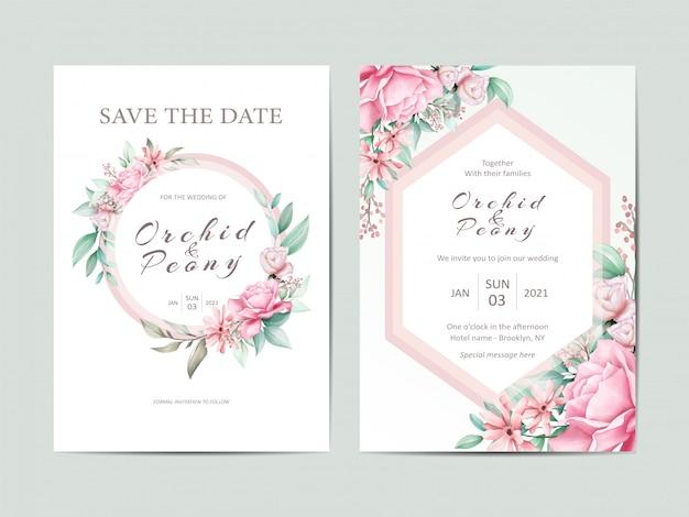Elegante conjunto de plantillas de invitación de boda de flores rosas acuarela Vector Premium