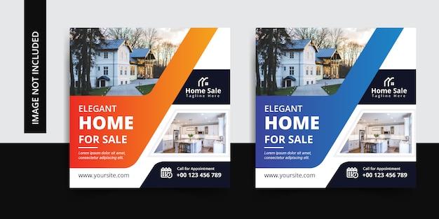 Elegante conjunto de plantillas de publicación de insta social de bienes raíces para el hogar moderno Vector Premium