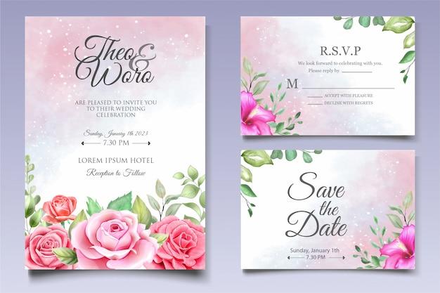 Elegante conjunto de tarjeta de invitación de boda floral acuarela Vector Premium