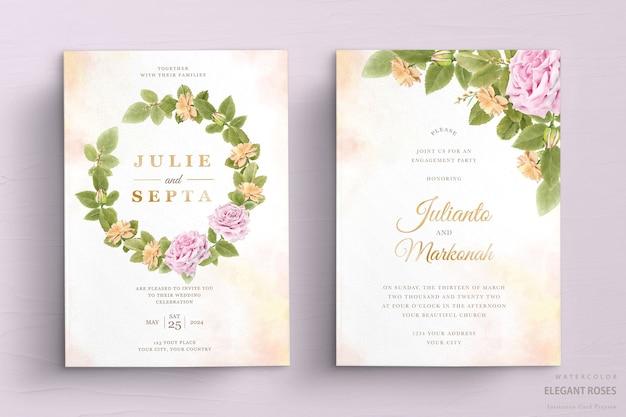 Elegante conjunto de tarjetas de invitación de boda floral acuarela vector gratuito