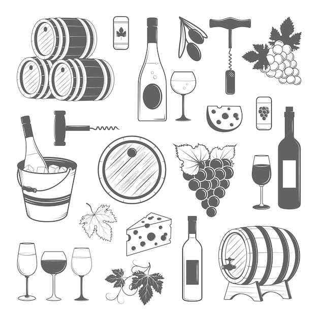 Elegante conjunto de vino de elementos vintage vector Vector Premium