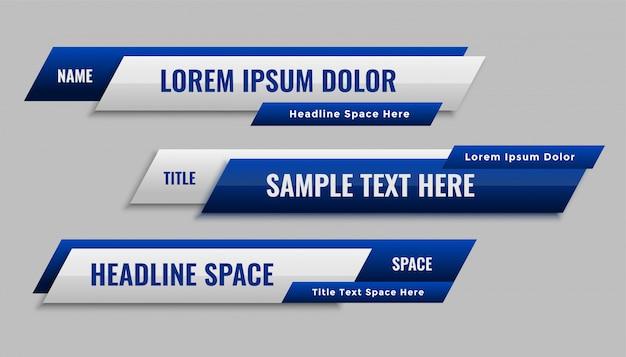 Elegante diseño geométrico azul de la plantilla del tercer banner inferior vector gratuito