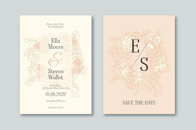 Elegante diseño de invitación de boda vector gratuito