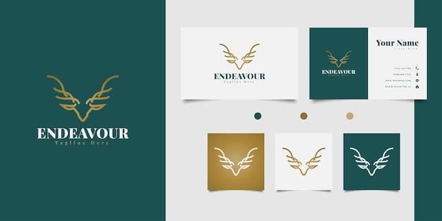 Elegante diseño de logotipo de cabeza de ciervo con concepto de arte lineal en degradado dorado Vector Premium