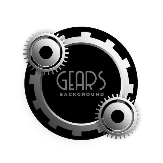 Elegante diseño de marco de engranajes metálicos 3d vector gratuito