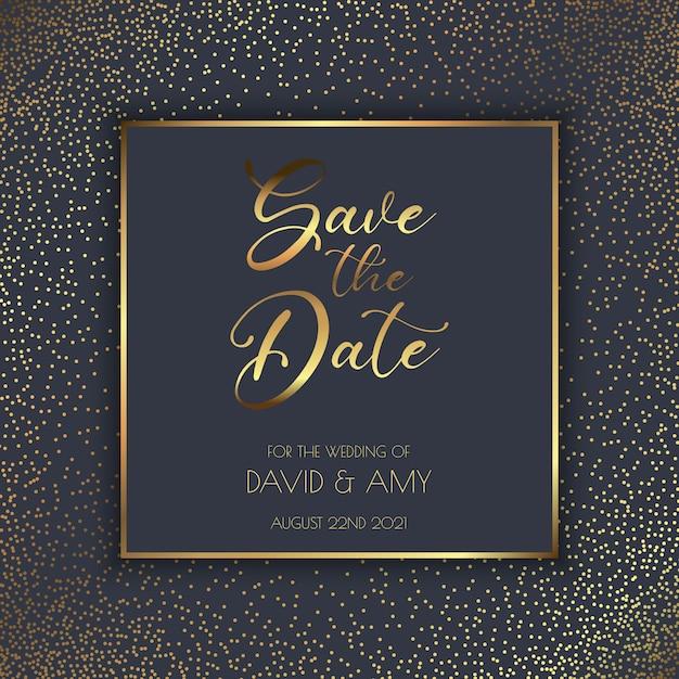 Elegante diseño en oro y negro para guardar la invitación de la fecha vector gratuito