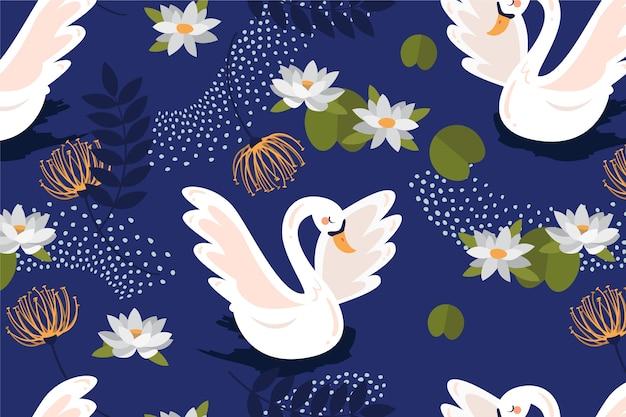 Elegante diseño de patrón de cisne vector gratuito