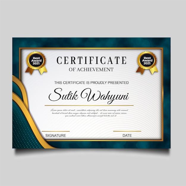 Elegante diseño de plantilla de certificado de logro vector gratuito