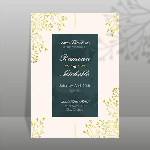 Elegante diseño de plantilla de invitación de boda vector gratuito
