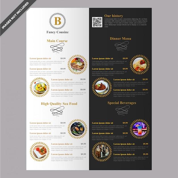 Elegante diseño de plantilla de menú de restaurante café editable Vector Premium