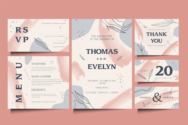 Elegante diseño de plantilla de papelería de boda vector gratuito