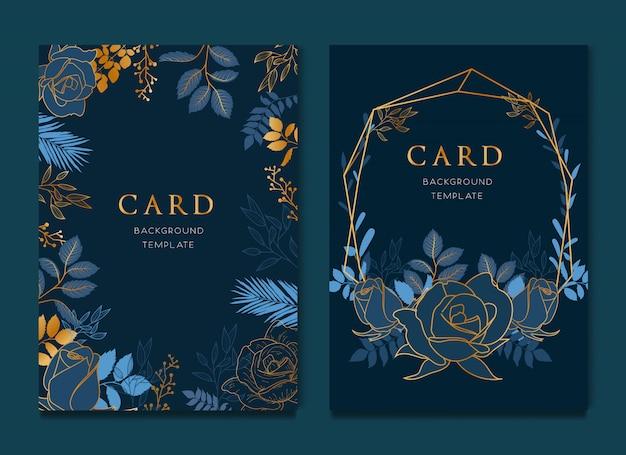 Elegante diseño de tarjeta floral azul. Vector Premium