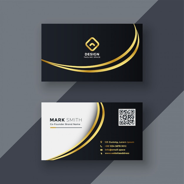 Elegante diseño de tarjeta de visita creativa dorada. vector gratuito