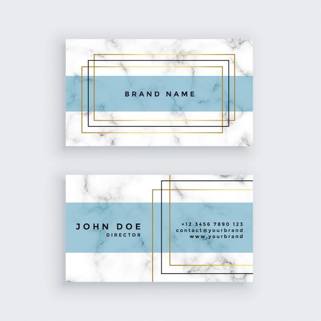 Elegante diseño de tarjetas de visita con textura de mármol. vector gratuito