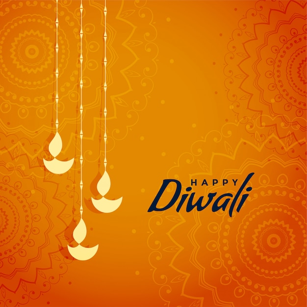 Elegante diseño tradicional del saludo del festival de diwali vector gratuito