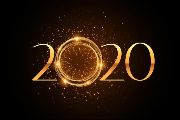 Elegante estilo de fuegos artificiales 2020 fondo dorado brillo vector gratuito
