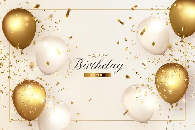 Elegante feliz cumpleaños con globos realistas vector gratuito