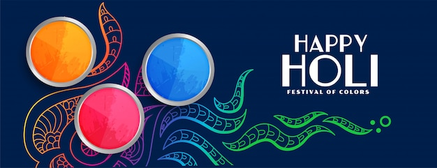 Elegante feliz holi colorido festival banner vector gratuito
