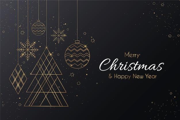 Elegante feliz navidad con adornos dorados vector gratuito