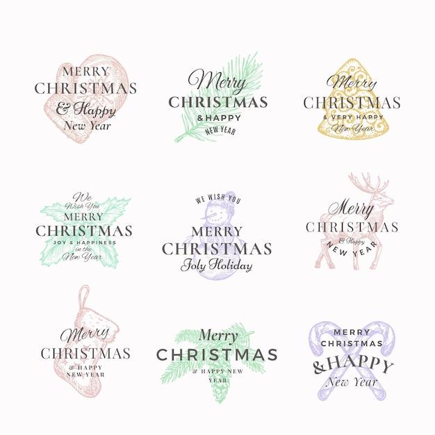 Elegante feliz navidad y feliz año nuevo resumen etiquetas o conjunto de plantillas de logotipo. vector gratuito