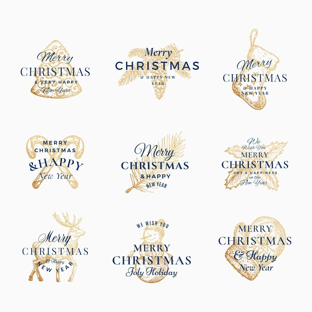 Elegante feliz navidad y feliz año nuevo resumen signos, etiquetas o conjunto de plantillas de logotipo. vector gratuito