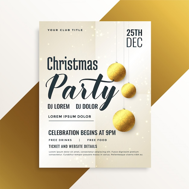 Elegante flyer de fiesta navideña con bolas doradas. vector gratuito