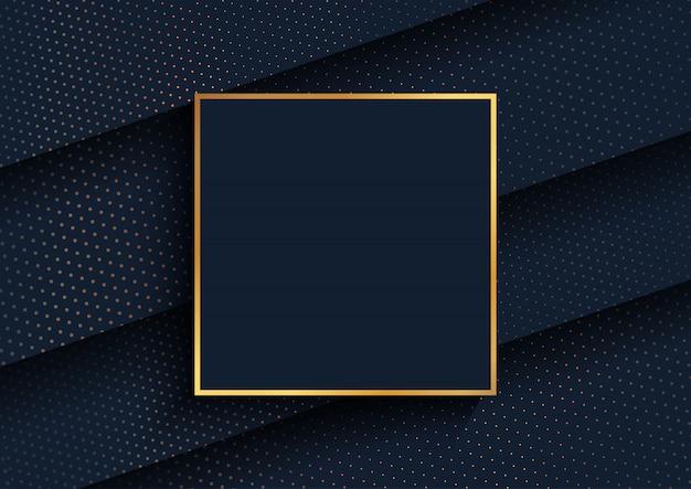 Elegante fondo con diseño de puntos de semitono dorado y marco dorado. vector gratuito