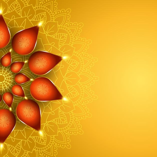 Elegante fondo de diwali con diseño de lámparas de aceite. vector gratuito