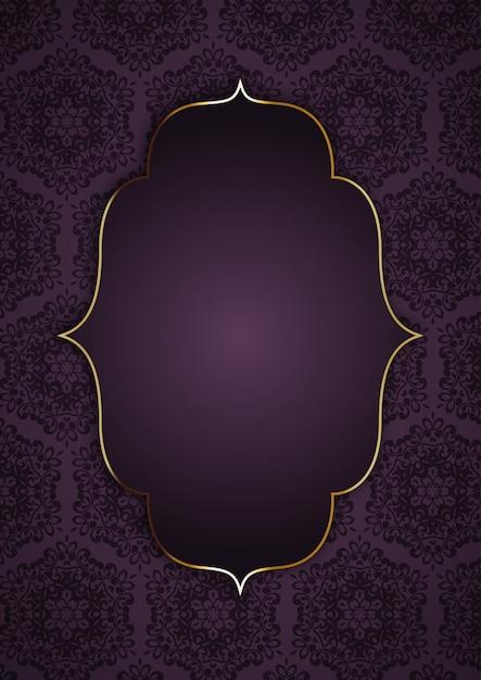 Elegante fondo con marco dorado en patrón decorativo. vector gratuito